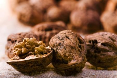 close up photo of walnuts on sacking  Stock Photo - 4187507