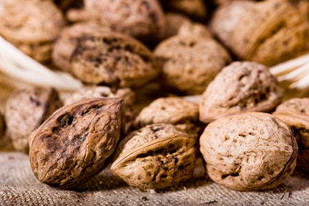 close up photo of walnut in basket Stock Photo - 4234759