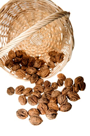 walnuts in basket isolated on white background Stock Photo - 4234760