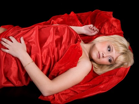 decolette: Young sexy girl wrapped in red cloth Stock Photo