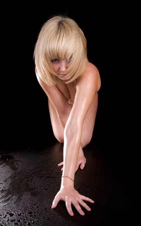 Young sexy naked girl standing as panther Stock Photo - 4208842