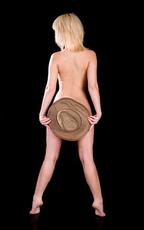 decolette: Girl posing with hat standing on tiptoe