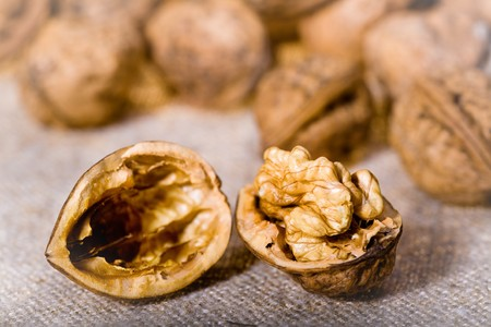 close up photo of walnuts on sacking  Stock Photo - 4271766