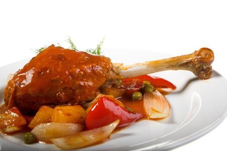 turkey hen: Turqu�a gallina con papa blanca sobre la placa Foto de archivo