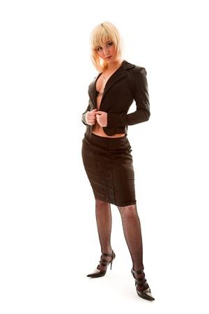 decolette: Sexy beautiful girl posing in unfastened dress