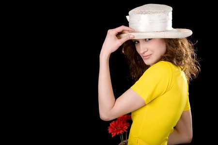young beauty womam in the yellow blouse  photo