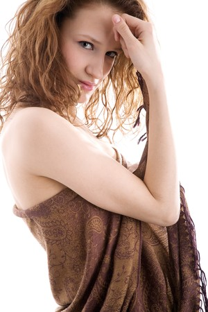 decolette: Sexy young girl wrapped in brown cloth