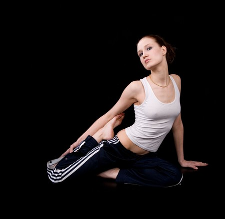 sport clothes: Young beautiful girl in sport clothes posing