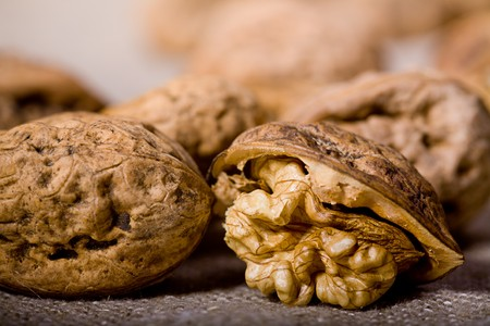 close up photo of walnuts on sacking  Stock Photo - 4352572