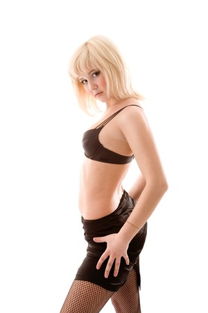 decolette: Seminude girl posing on white isolated background Stock Photo