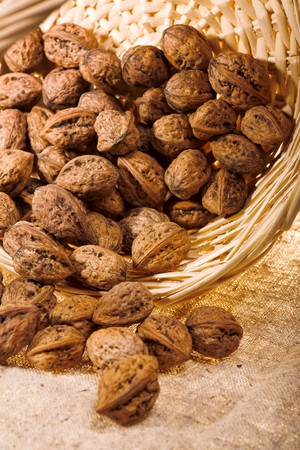 close up photo of walnut in basket Stock Photo - 4386275