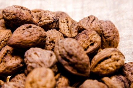 close up photo of walnut heap on sacking Stock Photo - 4445822