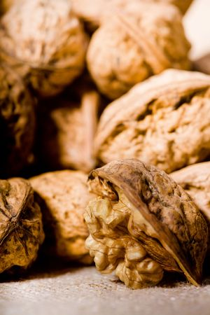 close up photo of walnuts on sacking  Stock Photo - 4581894