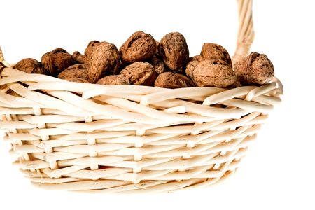 walnuts in basket isolated on white background Stock Photo - 4581950