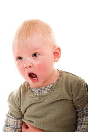 crying boy: j�venes llorando ni�o aislado en el blanco Foto de archivo