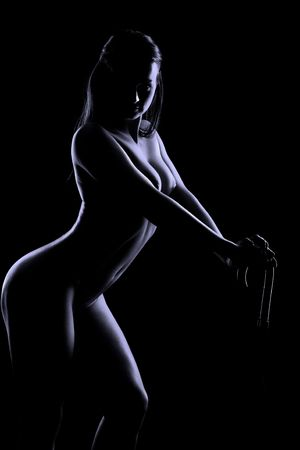 silhouette of young beauty woman on black Stock Photo - 5029021