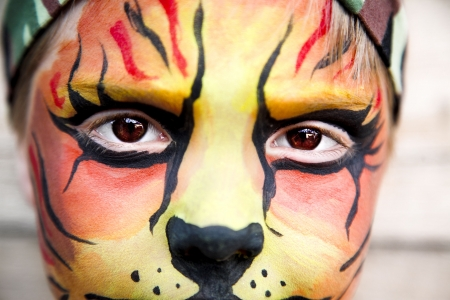 young happy boy in the tiger make-up