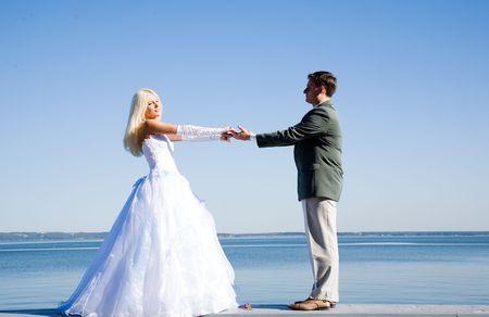 happy couple on the beach Stock Photo - 5759332