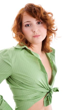 unbutton: beauty girl in green blouse isolated on white Stock Photo