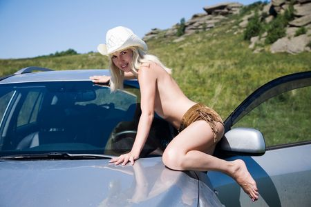 young sexual girl with car photo