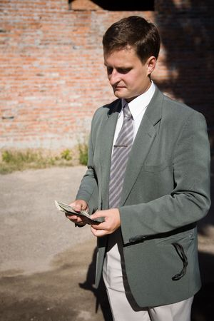 businessman with lot of money photo