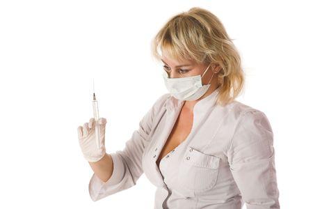 krankenschwester spritze: Doctor with Syringe, isoliert auf weiss