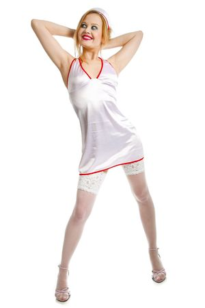 young beauty sexual nurse on white Stock Photo - 7968569