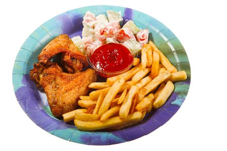 fast food on plate isolated photo