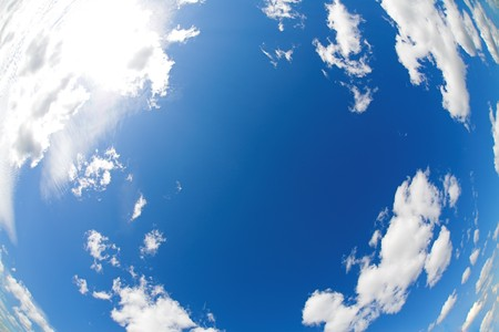 fisheye photo of blue sky and white clouds photo