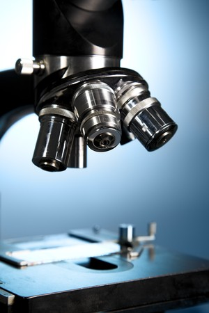 optical equipment: A close up of a microscope Stock Photo
