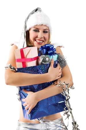 young beauty girl with gift in the hand photo