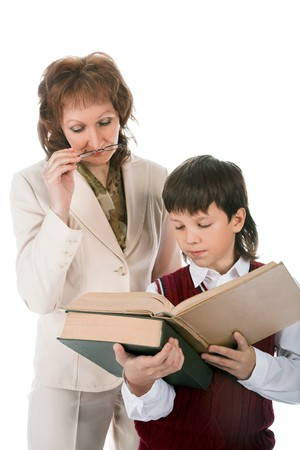 schoolboy and teacher isolated on white background Stock Photo - 8206937