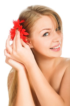nude woman with red flower isolated on white Stock Photo - 8206930