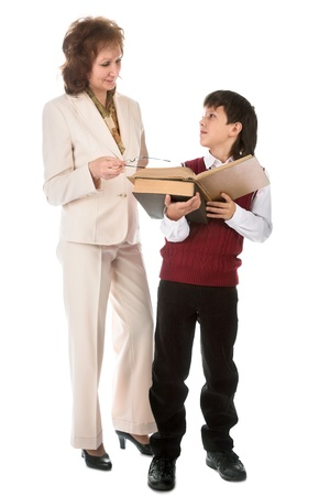 schoolboy and teacher isolated on white background Stock Photo - 8441203