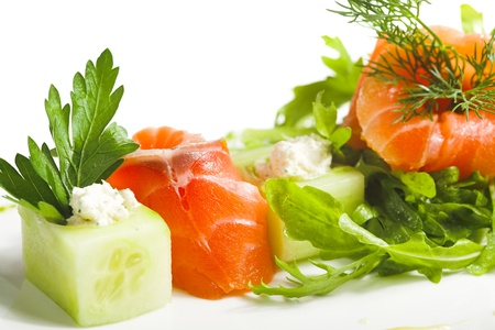 greens and salmon isolated on white background photo