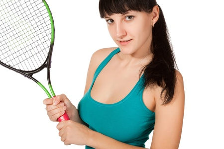 female tennis player isolated on white background Stock Photo - 8460790