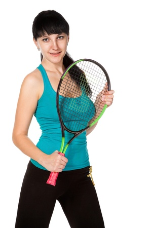 female tennis player isolated on white background Stock Photo - 8773001