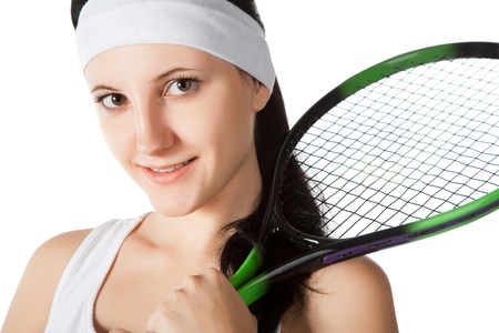 female tennis player isolated on white background Stock Photo - 8773014