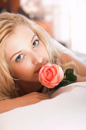 young beauty girl lying in the bed Stock Photo - 8773095