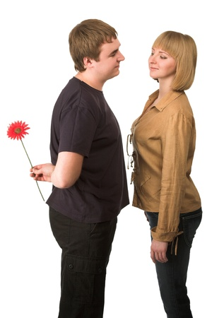 couple with a flower isolated on white photo