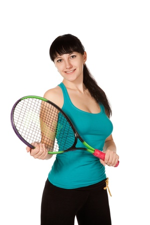 female tennis player isolated on white background Stock Photo - 8886532