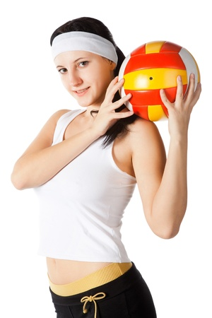 beauty woman with ball isolated on white photo