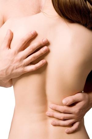 femme sexe: amateurs de Happy en embrace isol� sur fond blanc