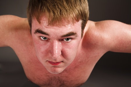 Young fat man doing push up exercise Stock Photo - 8988005