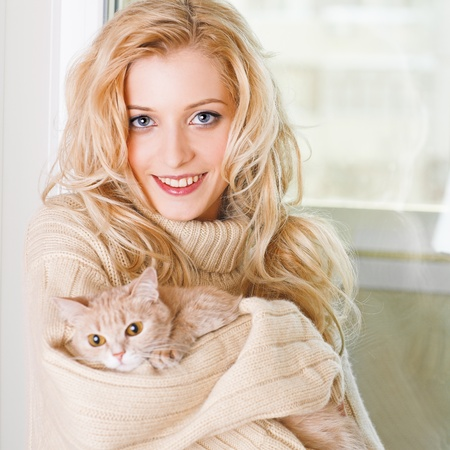 young beauty girl with the red cat Stok Fotoğraf