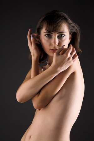 timidity: portrait of young beauty timidity girl Stock Photo