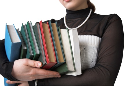 young beauty girl hold a lot of books  photo