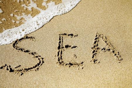 word sea on the sunny sandy beach photo