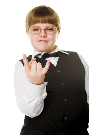 supercilious: young businessman giving gesture. Focus on fingers Stock Photo