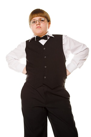 supercilious: young businessman isolated on the white background